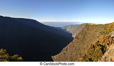Silaos Cirque of Reunion Island Wide View with in the morning light