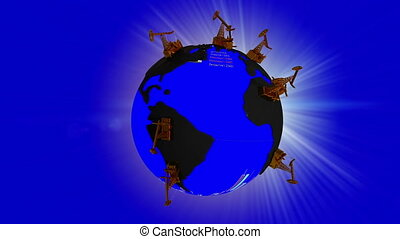 Rotating Earth with continents in the form of oil puddles and oceans with texture stock quotes and randomly distributed Pumpjack video loop  alpha channel