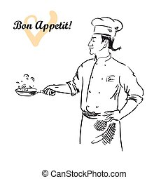 Male chef cooking specialty of the house. vector character