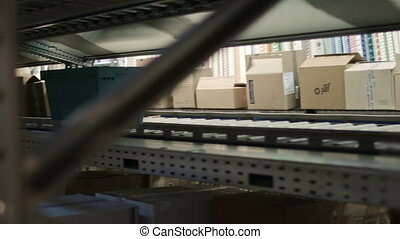 Medicaments moves conveyor warehouse pharmacy, close up