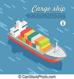 Cargo Ship Container Sailing in Sea. Vector