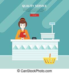Quality Service. Shop Assistant at the Cash Desk.