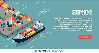 Port Warehouse Shipment Banner. Cargo Containers - Port...