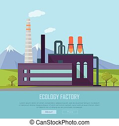 Ecology Factory Web Banner. Eco Manufacturing - Ecology...