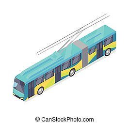 Trolleybus Vector Icon in Isometric Projection - Trolleybus...