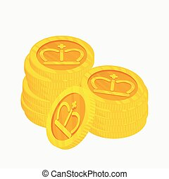 3D vector icon for a two stacks of gold coins with gold...