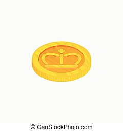3D vector icon for gold coin from top view. The best choice...