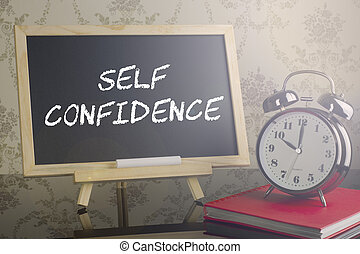 self Confidence on blackboard with flare and clock.