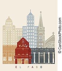 El Paso skyline poster in editable vector file