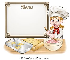Woman Baker or Pastry Chef Menu Sign - Woman baker or pastry...