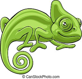 Chameleon Cartoon Character - A cute green chameleon lizard...