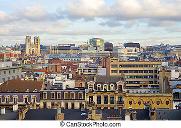 view of the city and cathedrale de st michel and gudule in...