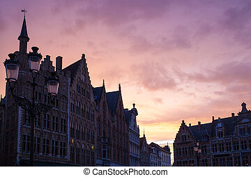 view of Old Markt square with a beautiful sunset sky natural...