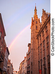 Bruges City Hall on Burg Square. - Ancient building and...