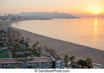 Benidorm sunset Alicante playa de Levante beach in spain