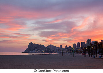 Benidorm sunset view from Calpe Alicante in Mediterranean...