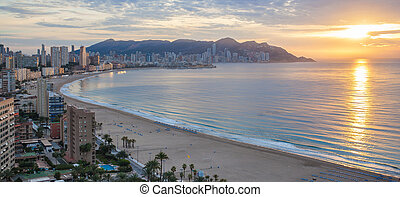 Benidorm bay at Costa Blanca sunset panorama. View from the...