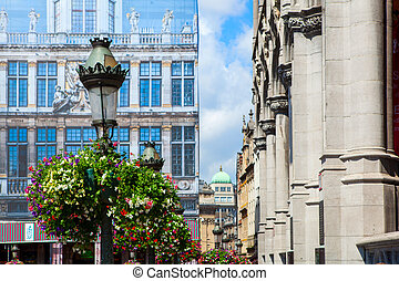 facade of an old guildhall at the Grand Place in Brussels,...