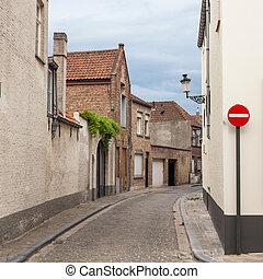 street in Bruges, Belgium - street scene medieval buildings...