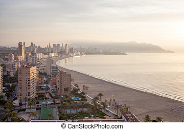 panoramic view of the tourist hub Benidorm - A panoramic...