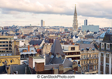 View of Brussels - View from a distance the spire of the...