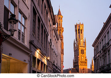 The belfry of Bruges - beautiful sunset on The belfry of...