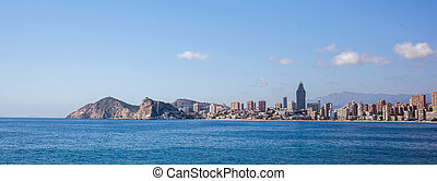 City scape panorama, city skyline and skyscrapers. Benidorm,...
