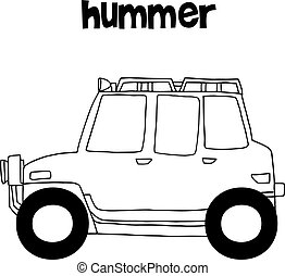 Hummer with hand draw transportation vector art