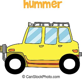 Transportation of yellow hummer vector collection stock