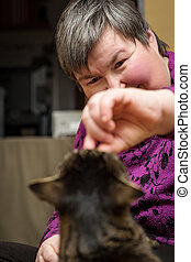 animal facilitated therapy for a mentally disabled woman