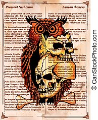 Vintge style grungy skull print retro background