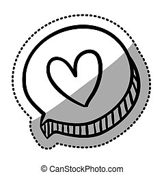 sticker oval dialog box with silhouette heart