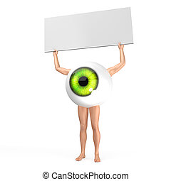 Big eye is holding table with free space for text. - Big...