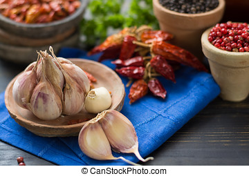 French garlic and red hot chili cayenne peppers dried,...