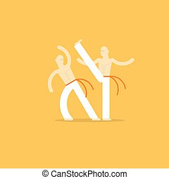 Capoeira sport game - Capoeiristas playing, two men, vector...