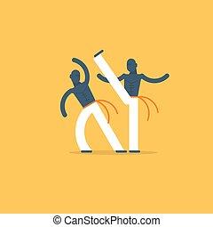 Capoeira sport game - Capoeiristas playing, two men, vector...