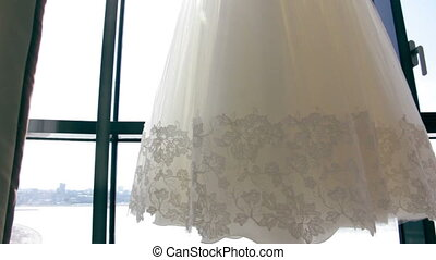 elegance, beautiful, Wedding dress at window slide dolly