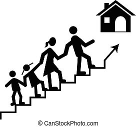 Concept of success and achieving your family goal. Family...