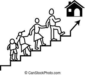 Vector concept of a man or guardian carrying his family to reach their dream home.