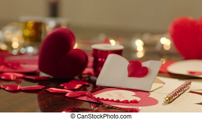 Gift box and valentines on Valentines Day - Panorama of...