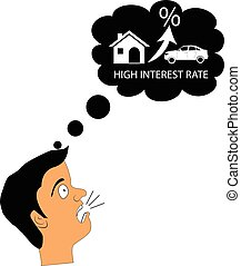 Vector concept of man shocked with high rental rate or mortgage interest rate in housing.