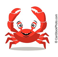 Funny red crab cartoon for food flavor concept