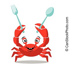 Funny red crab cartoon holding spoons for food flavor concept
