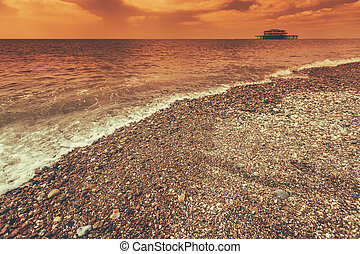 Stony Brighton coastline - Brighton coastline on a summer...