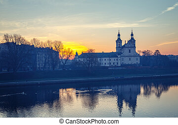 Church on the Skalka at sunrise in old town in Krakow with...