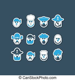 Pirate ship crew avatars set - Pirate heads icons set, face...