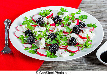 radish, blackberry, goat cheese and parsley low-calorie...