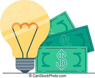 Light bulb and money bills - Idea on a million, investment...