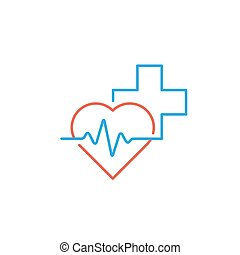 Healthcare and medical logo and icon concept, heart and...