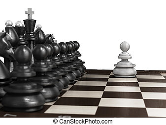 white pawn standing in front laid out in a row of black chess on chessboard